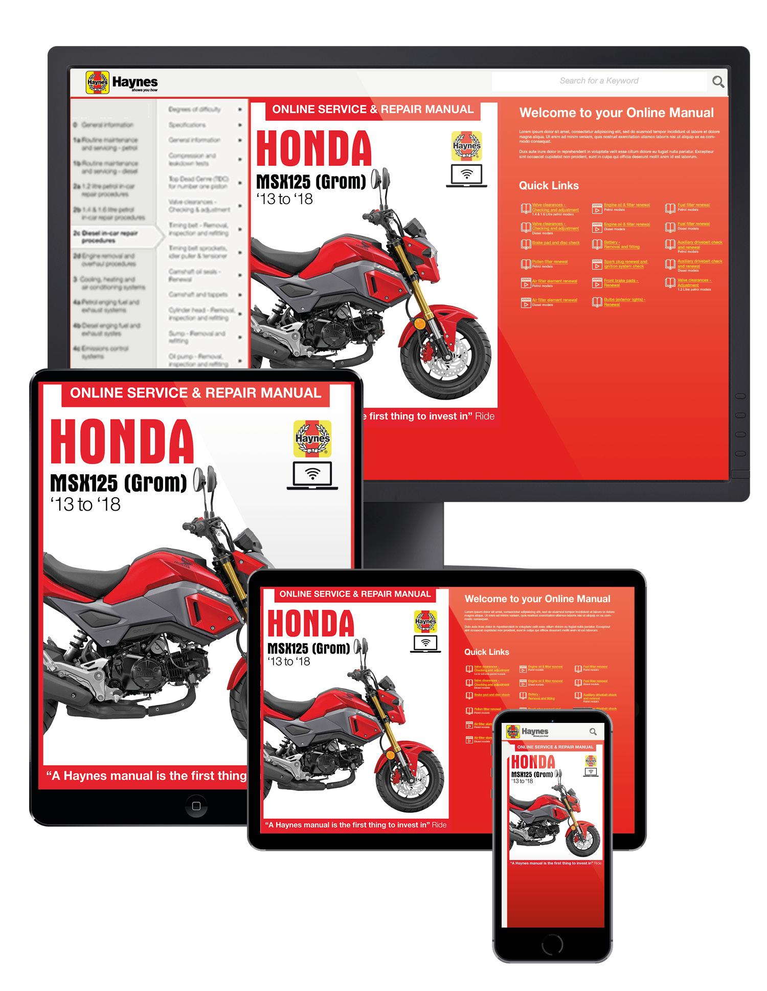 Honda MSX125 (Grom) (13 - 18) Haynes Online Manual