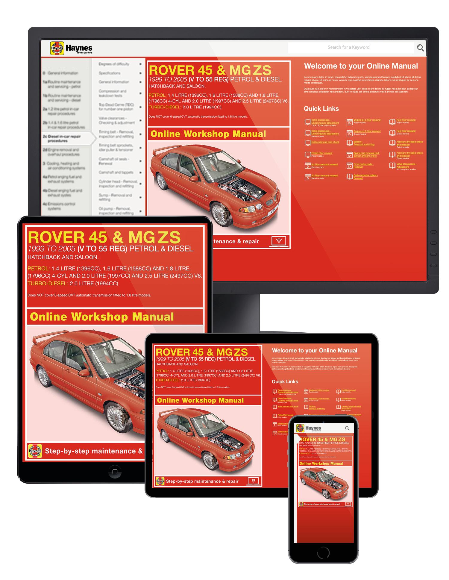 Rover 45 MG ZS 1999-2005 Petrol /& Diesel PDF Haynes Workshop Manual