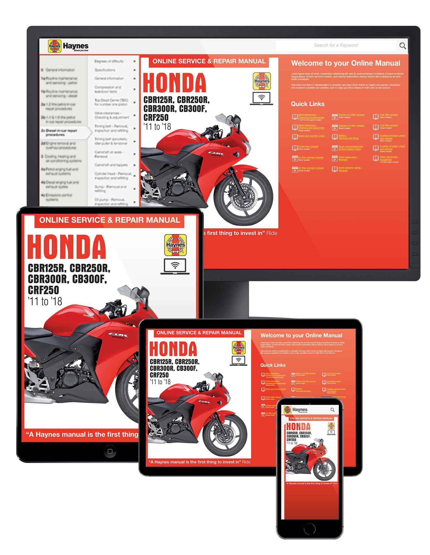 Honda CBR125/250/300R, CB300F & CRF250L/M (2011-2018) Haynes Online Manual