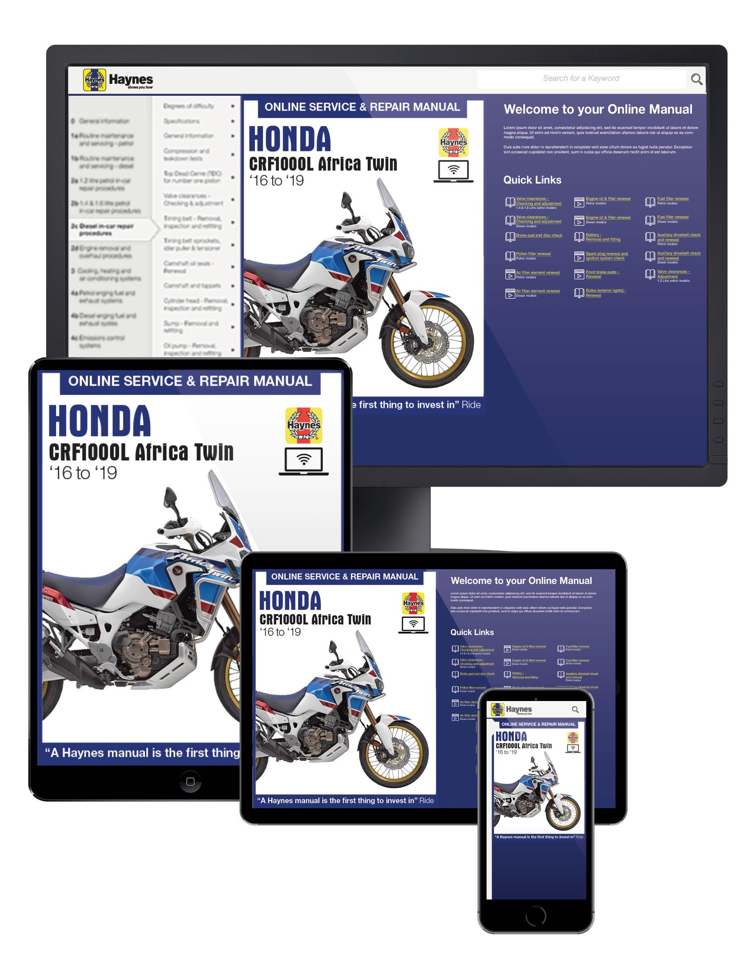 Honda CRF1000 Africa Twin (16-18) Haynes Online Manual