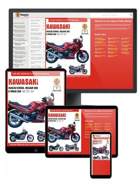 Kawasaki EN450 and 500 Twins Haynes Online Manual covering EN450 (454LTD/LTD450) for 1985 to 1990, EN500 or Vulcan 500 for 1990 to 2007, and EX250 or Ninja 250 for 1986 to 2007