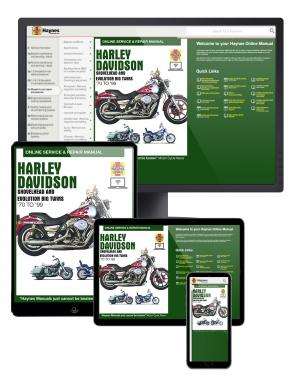Harley-Davidson Shovelhead and Evolution Big Twins (70-99) Haynes Online Manual covering FL, FX, FLT, FLH, FXR, Dyna and Softail, with 1200 and 1340cc engines