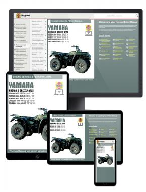 Yamaha Kodiak and Grizzly ATVs Haynes Online Manual covering 2-wheel and 4-wheel drive 386cc, 401cc, 421cc, 595cc and 660cc models for 1993 to 2005