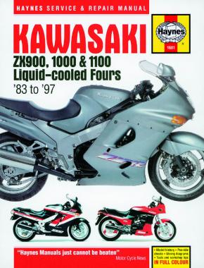 Kawasaki ZX900, 1000 & 1100 Liquid-cooled Fours (83 - 97) Haynes Repair Manual