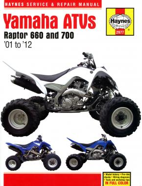 enlarge yamaha raptor 660 & 700 atvs (01 - 12) haynes repair manual