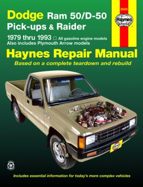 Dodge Ram 50/D-50 pick-ups & Raider & Plymouth Arrow Pick-up (1979-1993) Haynes Repair Manual (USA)