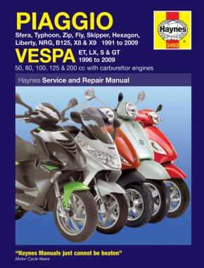 Piaggio & Vespa Scooters (91 - 09) Haynes Repair Manual