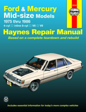 Ford & Mercury mid-size Ford Thunderbird & Mercury Cougar 75-82,Ford LTD & Mercury Marquis 83-86,Ford Torino,Gran Torino, Elite, Ranchero pick-up, LTD II, Mecury Montego, Comet, XR-7 & Lincoln Versailles 75-86 Haynes Repair Manual (USA)