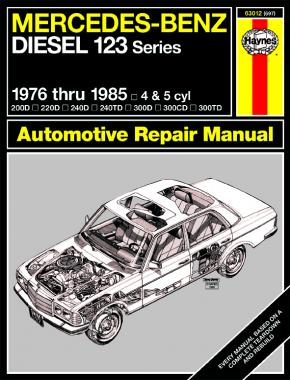 Mercedes-Benz Diesel 123 Series for 200D, 220D, 240D, 240TD, 300D, 300CD, 300TD models, designated W123 Series 4-cyl & 5-cyl inc. turbo-diesel (76-85) Haynes Repair Manual (USA)