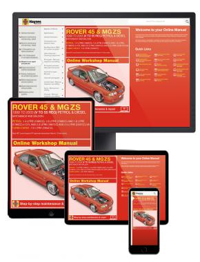 Rover 45 / MG ZS Petrol & Diesel (1999-2005) V to 55 Haynes Online Manual