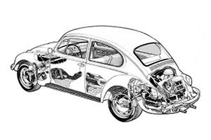 Volkswagen Beetle 1300 1954 to 1977
