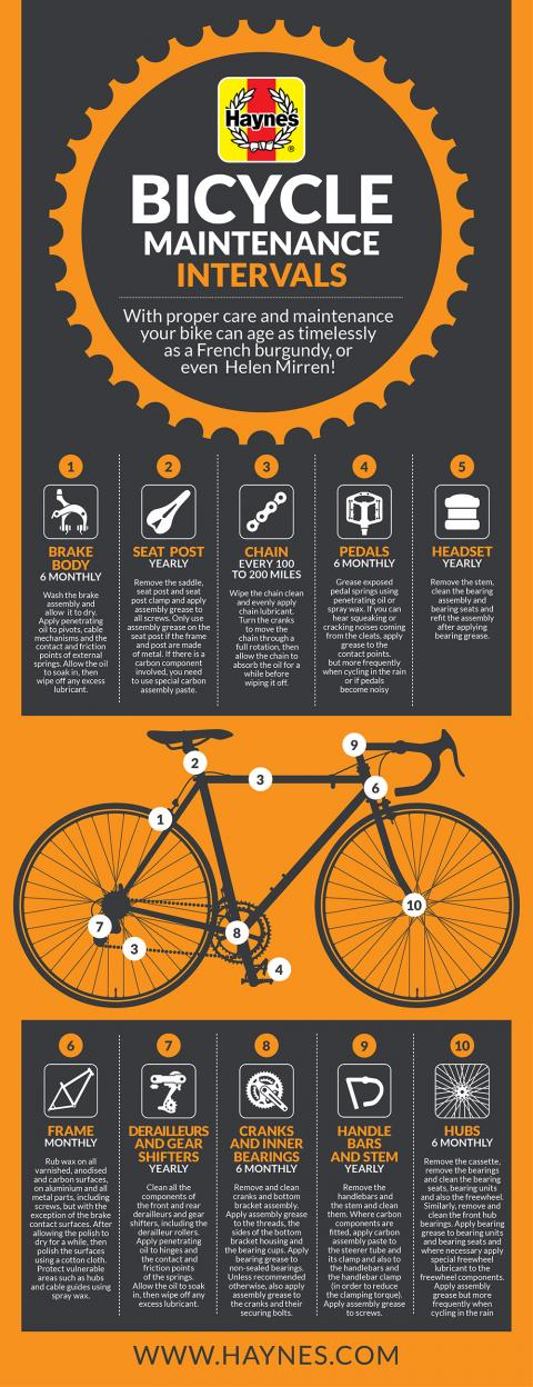 Simple bike maintenance intervals for keeping your ride timeless infographic