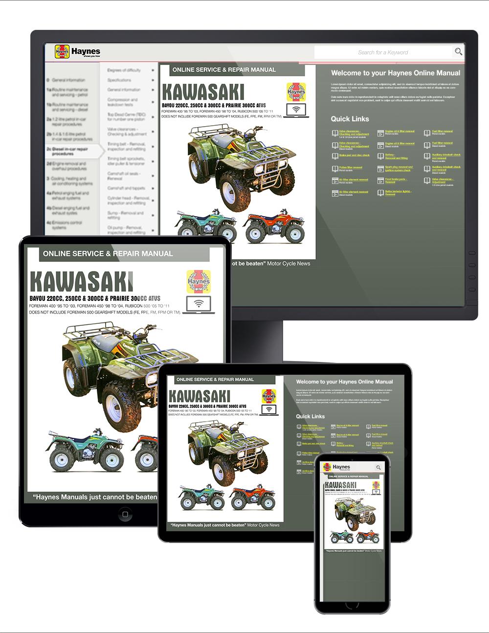 Bayou Haynes Manuals Kawasaki Kvf300 Wiring Diagram Online Manual Enlarge