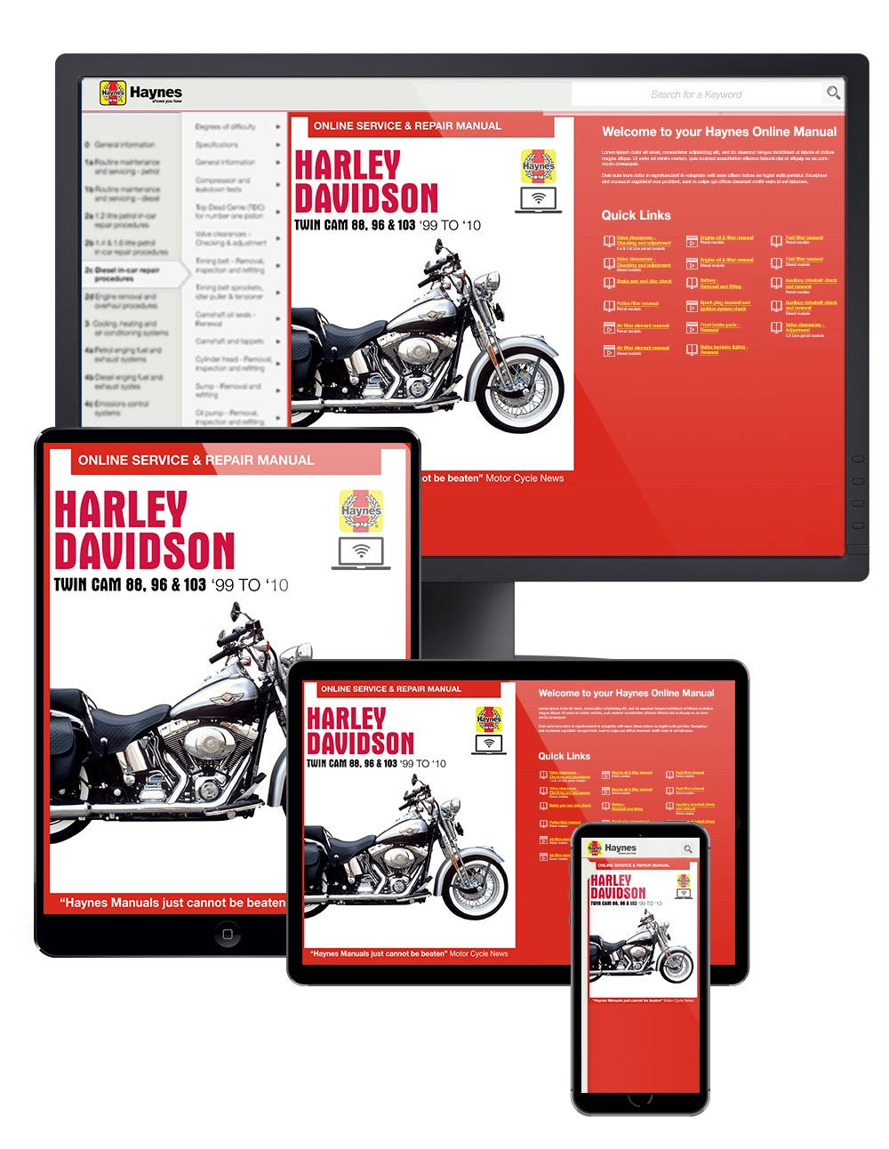 Harley-Davidson Twin Cam 88 Haynes Online Manual covering Softail (2000 thru 2010), Dyna Glide (1999 thru 2010), and Electra Glide/Road King and Road