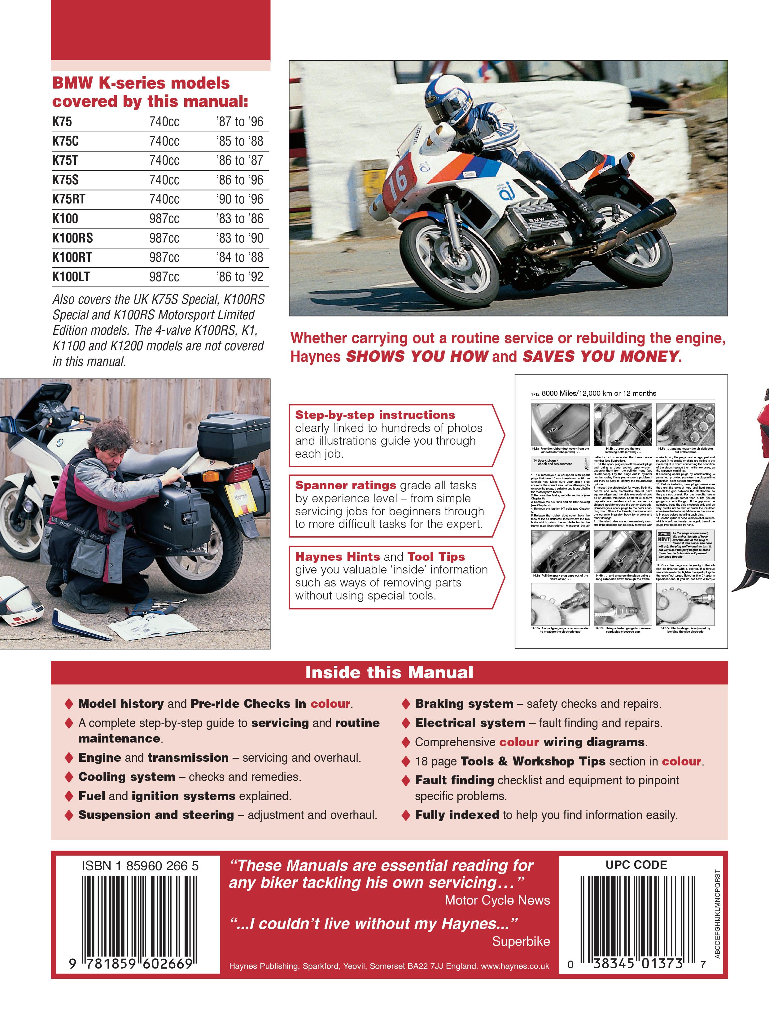 bmw k100 2-valve (83-92) & k75 (85-96) haynes repair manual