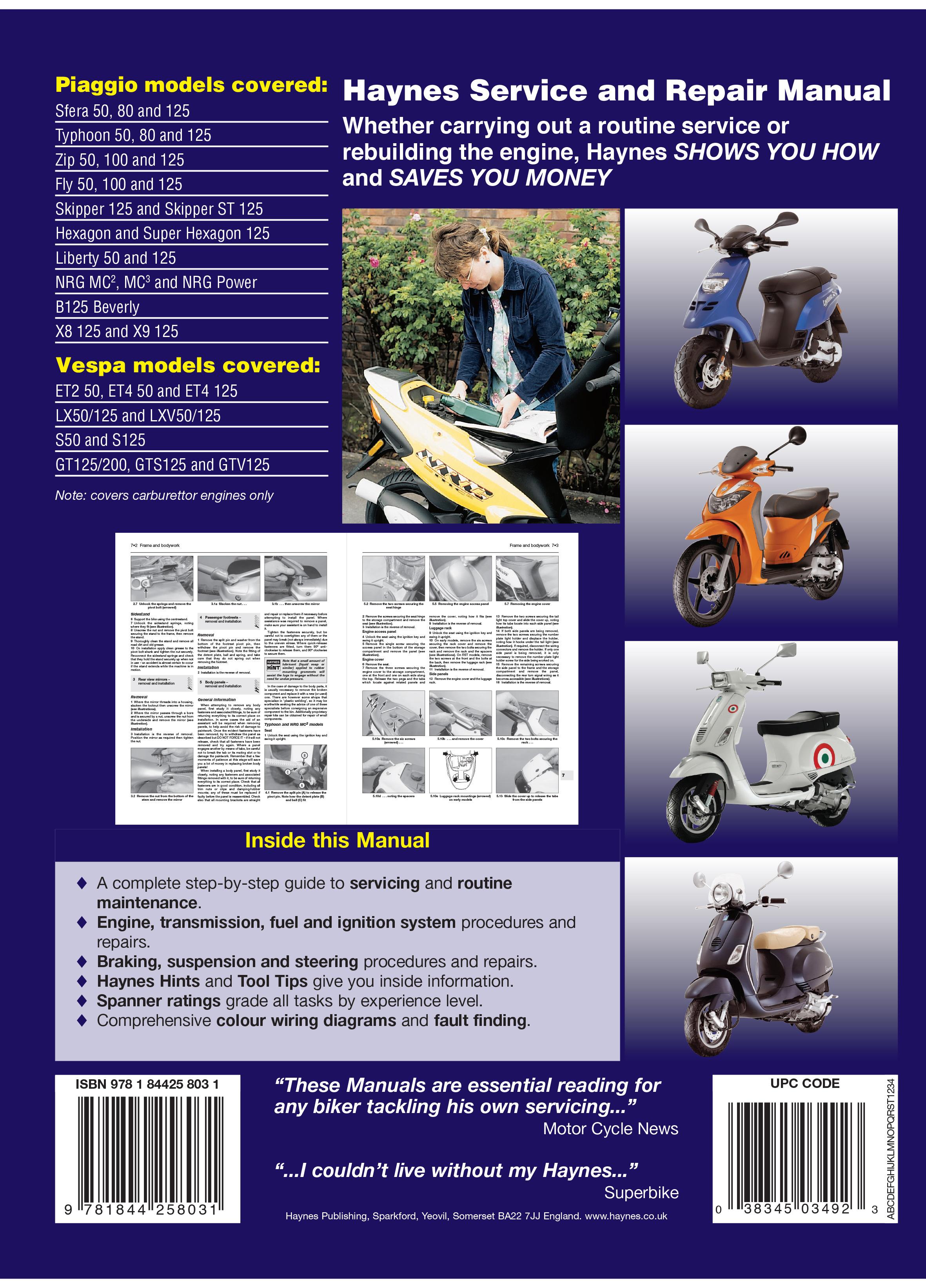 piaggio and vespa haynes online manual for piaggio sfera typhoon rh haynes com BMW Workshop Manual Chamberlain Garage Door Opener Manual