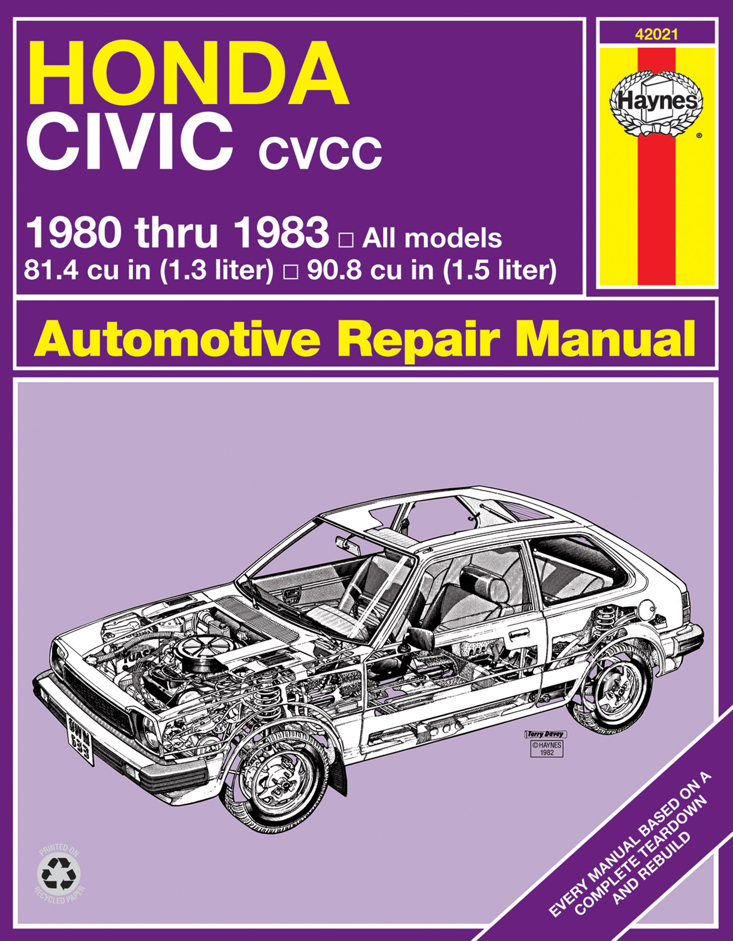 Enlarge Honda Civic CVCC (80-83) Haynes Repair Manual