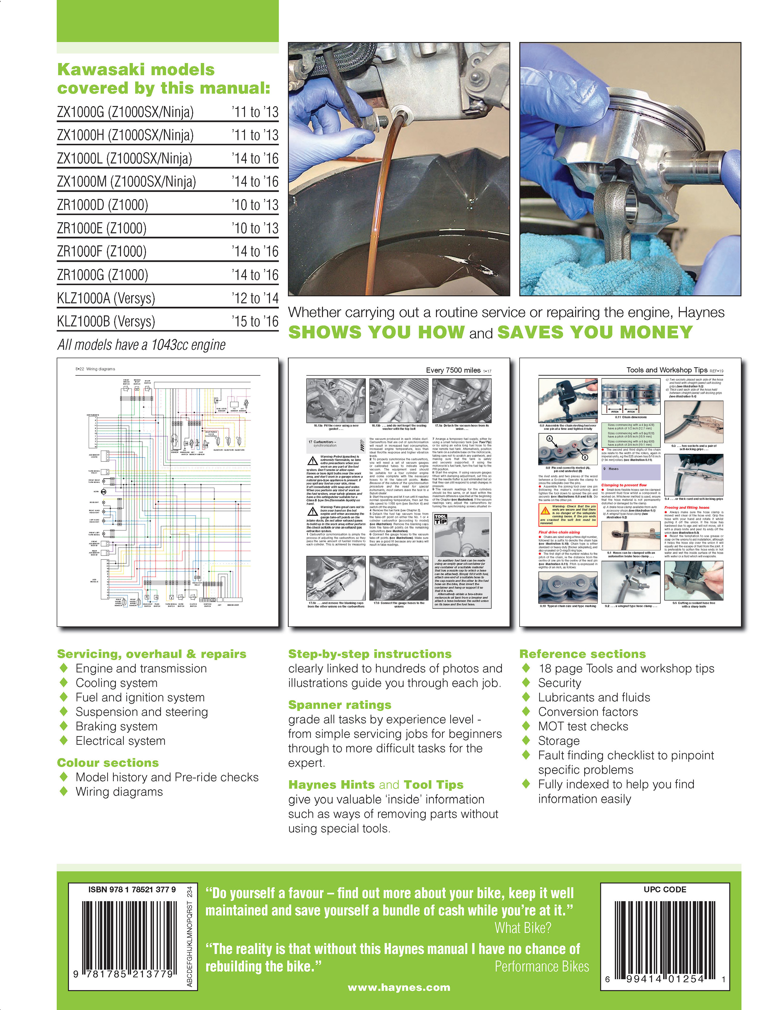 Haynes 6377 back cover kawasaki z1000, z1000sx & versys (10 16) haynes repair manual zg1000 wiring diagram at love-stories.co