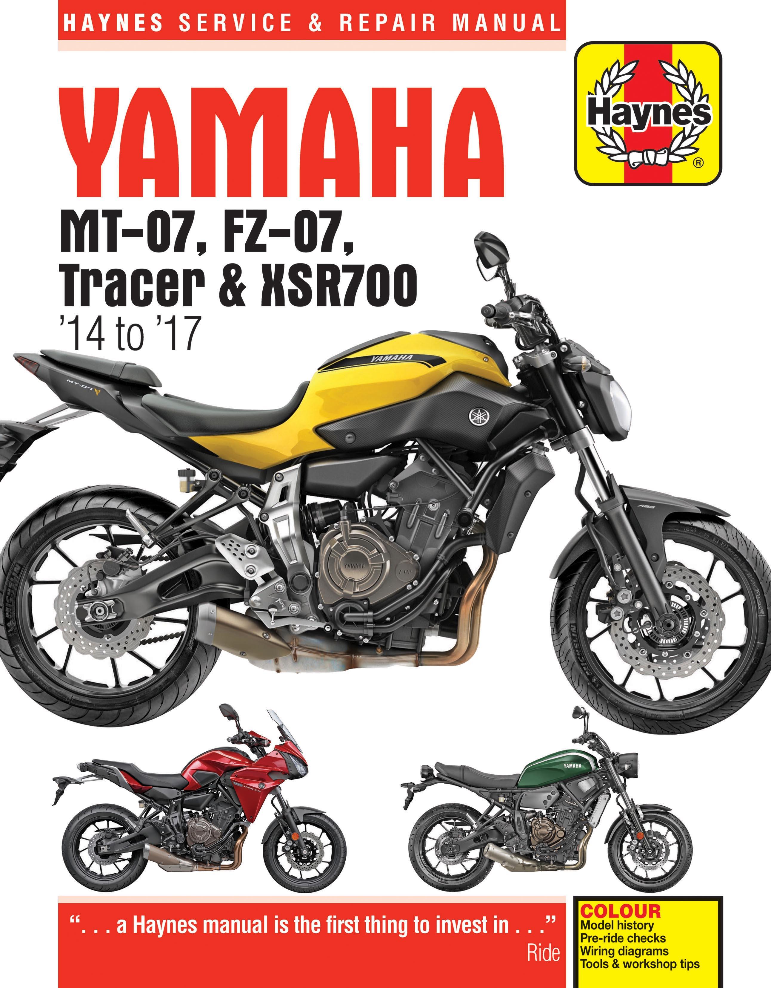 Yamaha MT-07,  FZ-07,  MT-07TR Tracer & XSR700 (14-17) Haynes Repair Manual