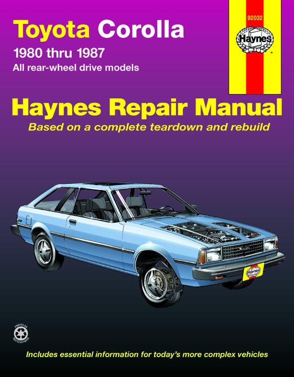 toyota corolla rwd 80 87 haynes repair manual haynes manuals rh haynes com 1985 Toyota Corolla 1990 Toyota Corolla