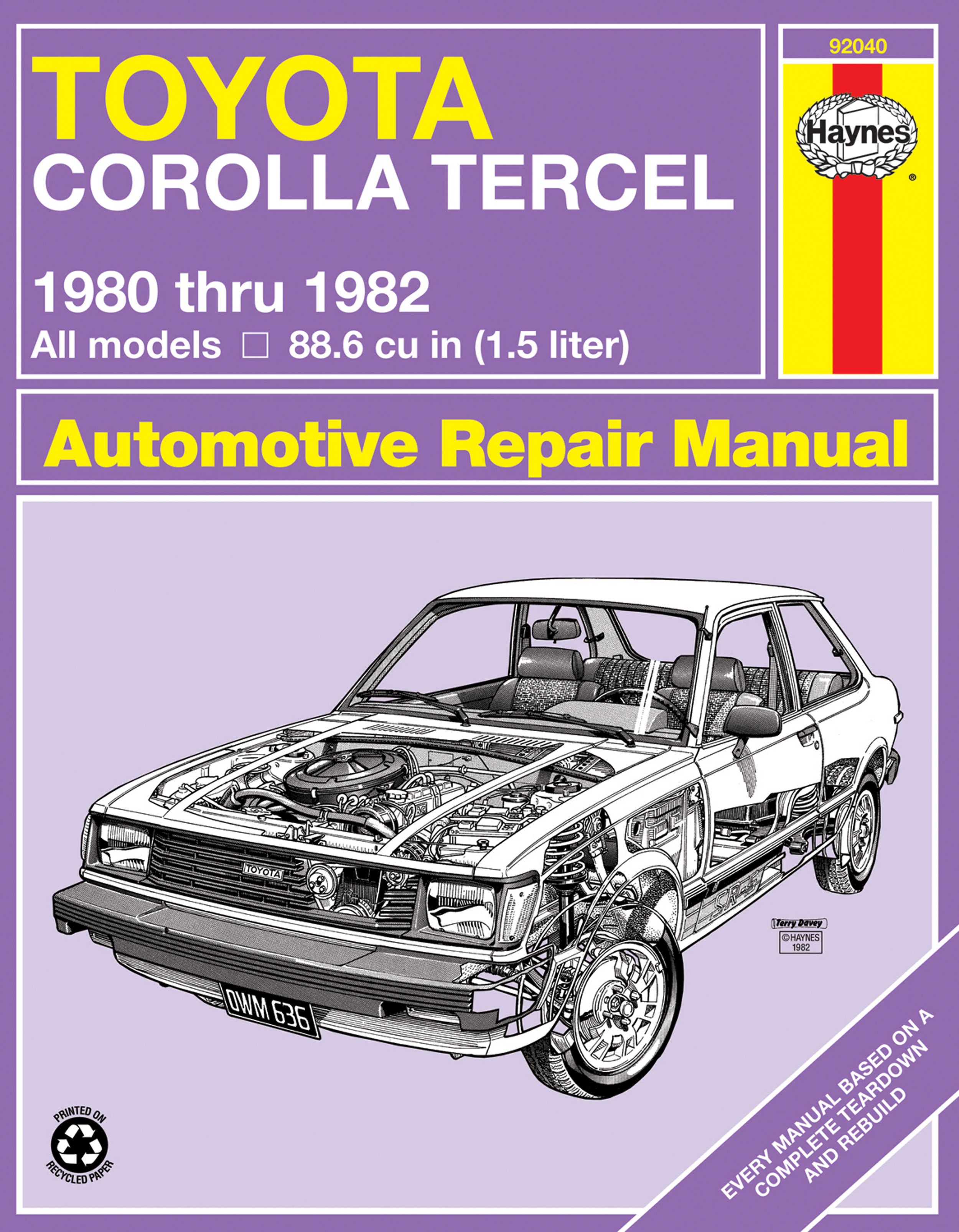 Enlarge Toyota Corolla Tercel (80-82) Haynes Repair Manual