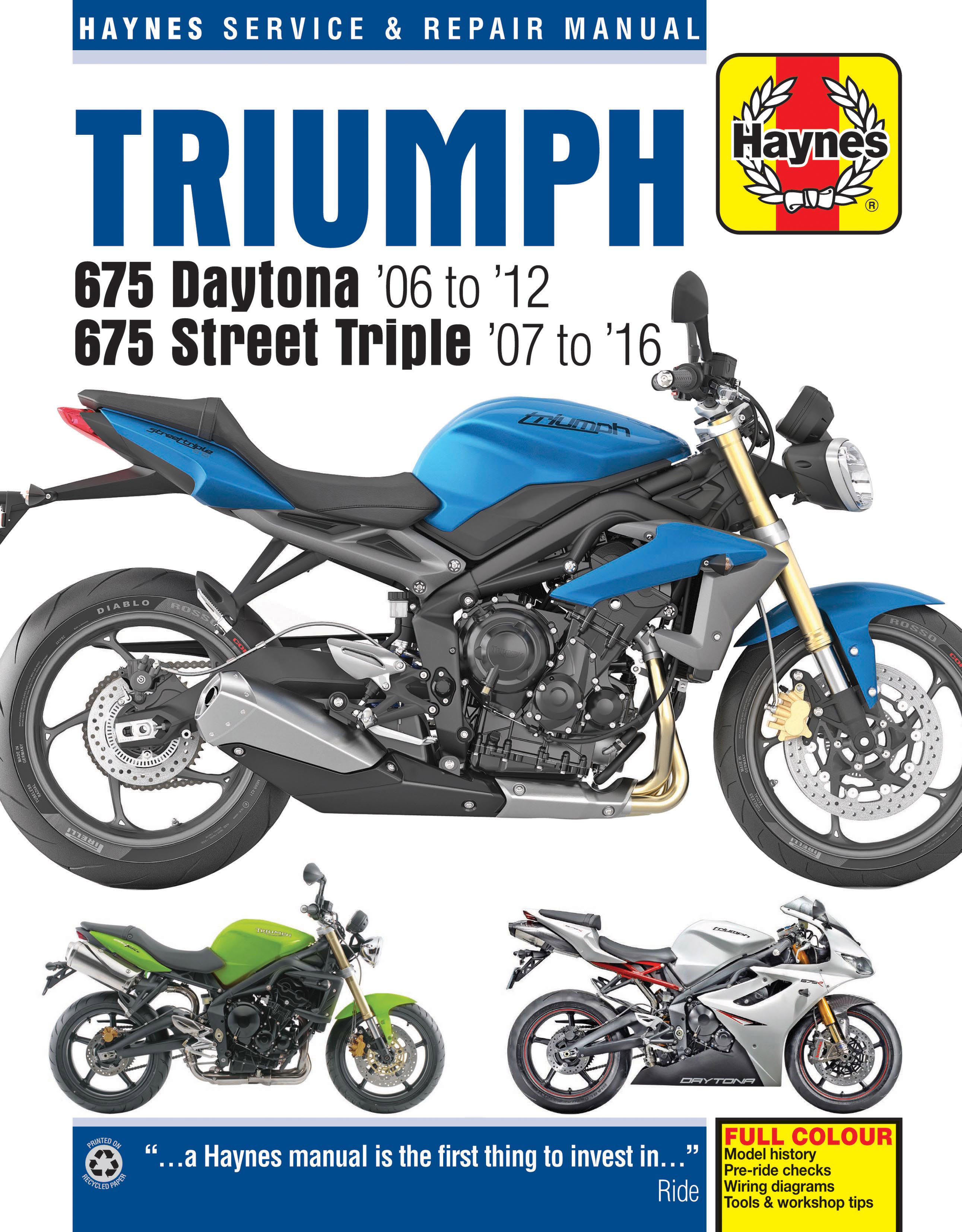 ... Triumph 675 Daytona & Street Triple (06-16) Haynes Repair Manual.  Enlarge ...