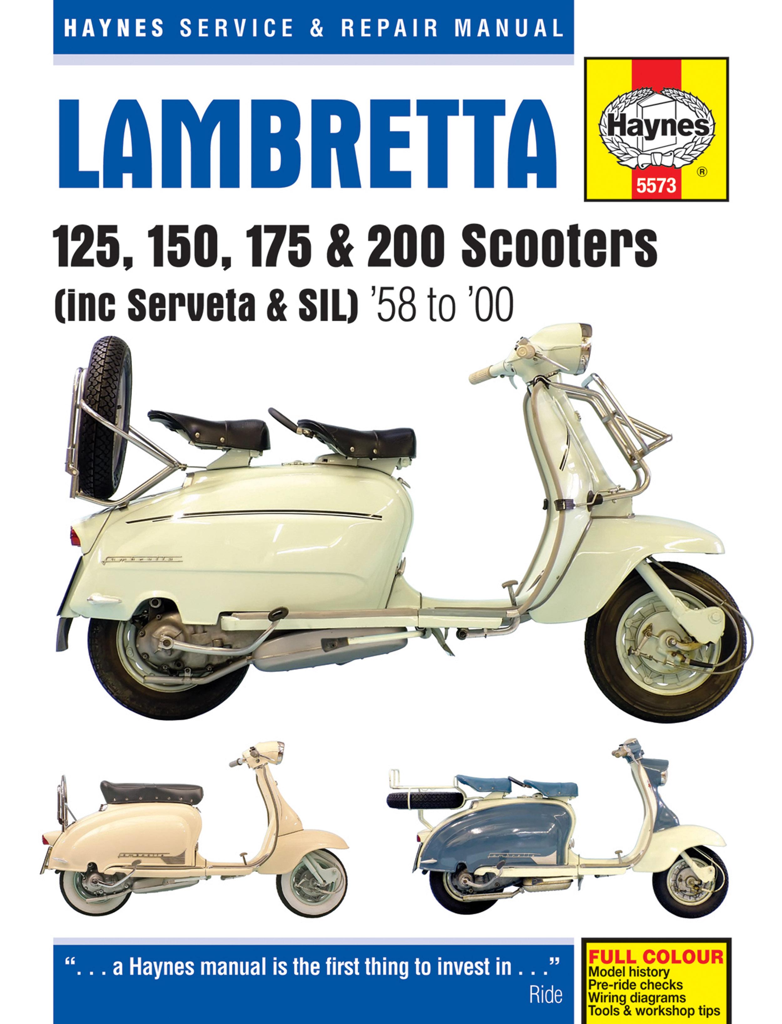 Lambretta 125, 150, 175 & 200 Scooters (58-00) Haynes Repair Manual (includes Serveta & SIL)