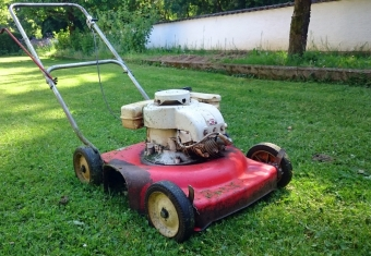red lawn mower in green grass