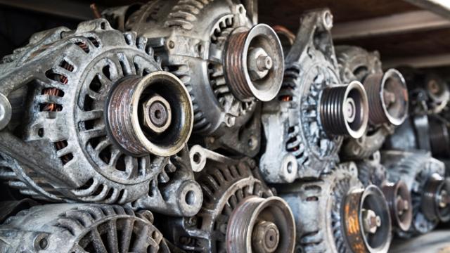 Old alternators on a shelf