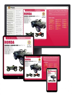 Honda Foreman & Rubicon ATVs Haynes Online Manual covering Foreman 400 (1995 thru 2003), Foreman 450 (1998 thru 2004), and Rubicon 500 (01-11)