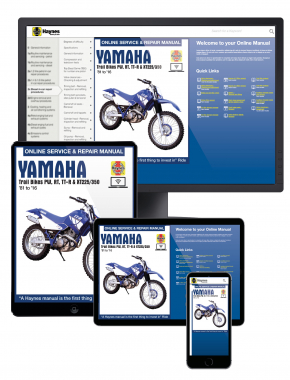 Yamaha Trail Bikes Haynes Online Manual covering PW, RT, TT-R and XT225/350 models for (81-16)