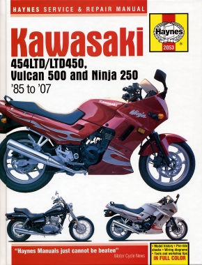 Kawasaki EN450 (454LTD/LTD450) (85-90), EN500/Vulcan 500 (90-07), & EX250/Ninja 250 (86-07) Haynes Repair Manual