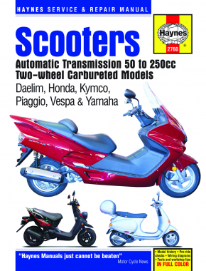 Twist & Go (automatic transmission) Scooters covering 50cc to 250cc engines, Two-wheel, Carbureted models of Dealim, Honda, Kymco, Piaggio, Vespa & Yamaha (84-09) Haynes Repair Manual