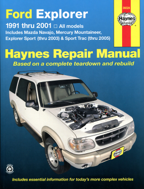 Ford Explorer & Mazda Navajo covering Ford Explorer & Mazda Navajo (91-01), Mercury Mountaineer (97-01), Explorer Sport (00-03), & Explorer Sport Trac (01-05) Haynes Repair Manual