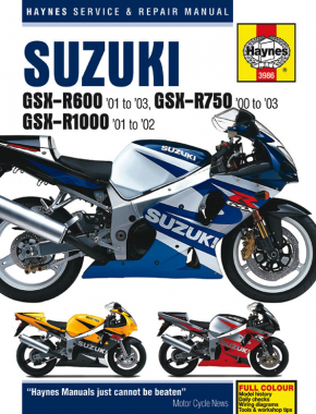 Suzuki GSX-R600 (01-03), GSX-R750 (00-03) & GSX-R1000 (01-02) Haynes Repair Manual