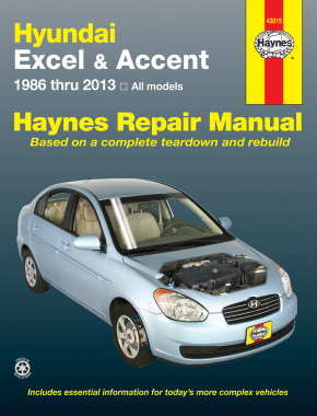 hyundai excel 86 94 accent 95 13 haynes repair manual haynes rh haynes com 2004 Hyundai Repair Manuals Hyundai Sonata Repair Manual
