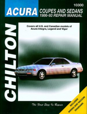 Acura Coupes and Sedans Chilton Repair Manual covering all US and Canadian models of Acura Integra, Legend and Vigor for 1986-93