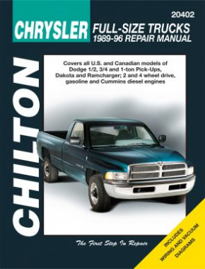 Chrysler Full-Size Trucks Chilton Repair Manual for 1989-96 covering all models of 1/2, 3/4 and 1-ton Picks-Ups, Dakota and Ramcharger (2 and 4 wheel drive, gas and diesel engines)