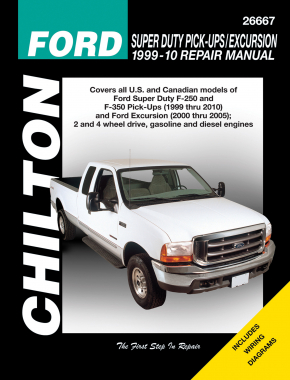 Ford Super Duty Pick-Ups/Excursion (1999-10) for of Super Duty F-250 & F-350 (1999-10) & Ford Excursion (2000-05) for 2 & 4 wheel drive (gas & diesels). Does not include F-450 or F-550 models. Chilton Repair Manual (USA)