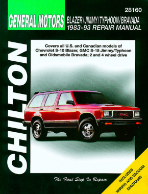 General Motors Blazer/Jimmy/Typhoon/Bravada (1983-93) for of Chevrolet S-10 Blazer, GMC S-15 Jimmy/Typhoon & Oldsmobile Bravada for 2 & 4 wheel drive vehicles Chilton Repair Manual (USA)