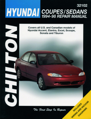 Hyundai (1994-98) for of Accent, Elantra, Excel, Scoupe, Sonata & Tiburon Chilton Repair Manual (USA)