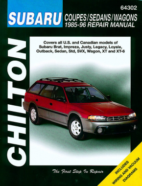 Subaru Coupes, Sedans & Wagons covering the Brat, Impreza, Justy, Legacy, Loyale, Outback, Sedan, Std, SVX, Wagon, XT & XT-6 (1985-96) Chilton Repair Manual (USA)