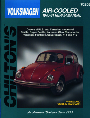 Volkswagen Air-Cooled (1970-81) covering Beetle, Super Beetle, Karmann Ghia, Transporter, Vanagon, Fastback, Squareback, 411 & 412 Chilton Repair Manual (USA)