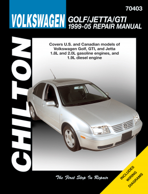 Volkswagen Golf, Jetta & GTI covering models with 1.8L & 2.0L gasoline engines & 1.9L diesel (1999-05) (Does not include information specific to models with the VR6 engine, the 5-cylinder engine, 2004 & later Chilton Repair Manual (USA)