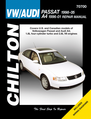 Volkswagen Passat (1998-05) & Audi A4 (1996-01) covering models with 1.8L four-cylinder turbo & 2.8L V6 engines (Does not include diesel, W8 engine or S4 model information) Chilton Repair Manual (USA)
