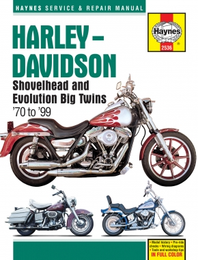 Harley-Davidson Shovelhead and Evolution Big Twins 1970-1999 covering FL, FX, FLT, FLH, FXR, Dyna and Softail, with 1200 and 1340cc engines Haynes Repair Manual