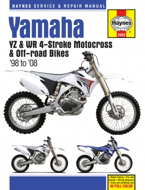 Yamaha Haynes Repair Manual covering the YZ and WR 4-Stroke Motocross and Off-Road Bikes for 1998-2008 Haynes Repair Manual