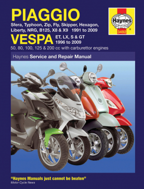 Piaggio Sfera, Typhoon, Zip, Fly, Skipper, Hexagon, Liberty, B125, X8/X9 Scooters (91-09) & Vespa ET2, ET4, LX & GT Scooters (96-09) Haynes Repair Manual