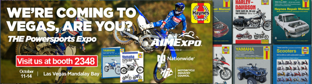 Aimexpo banner with Haynes Manual backdrop