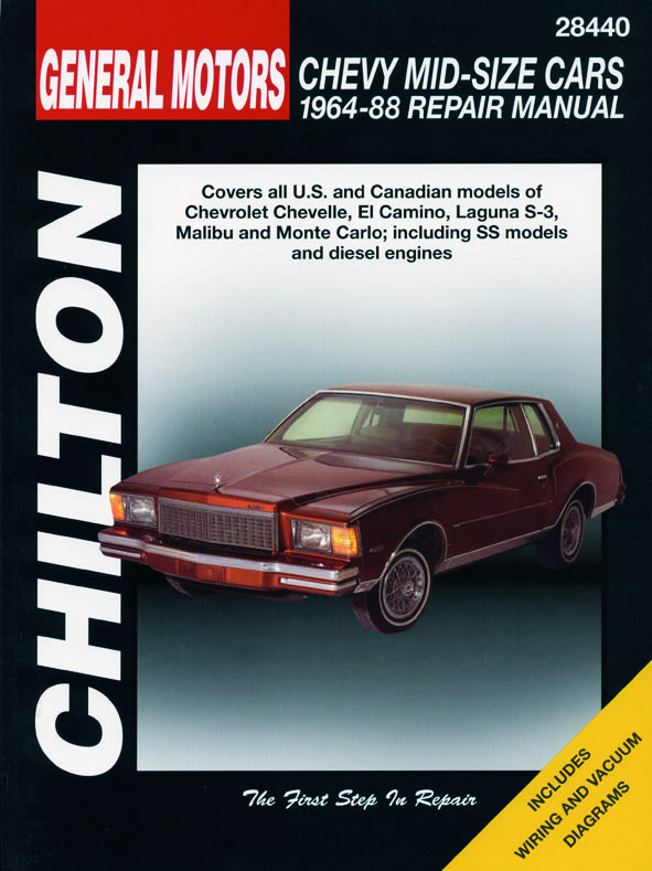 General Motors Chevy Mid-Size Cars (1964-88) for of Chevy Chevelle, El Camino, Laguna S-3, Malibu & Monte Carlo (including SS mo